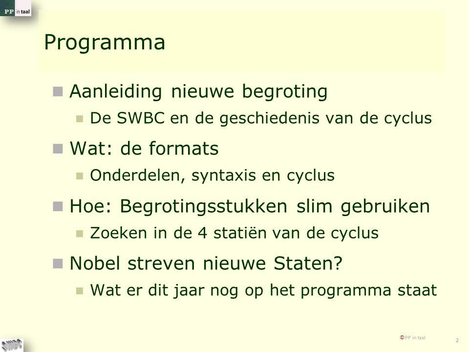 © PP in taal 2 Programma Aanleiding nieuwe begroting De SWBC en de geschiedenis van de cyclus Wat: de formats Onderdelen, syntaxis en cyclus Hoe: Begrotingsstukken slim gebruiken Zoeken in de 4 statiën van de cyclus Nobel streven nieuwe Staten.