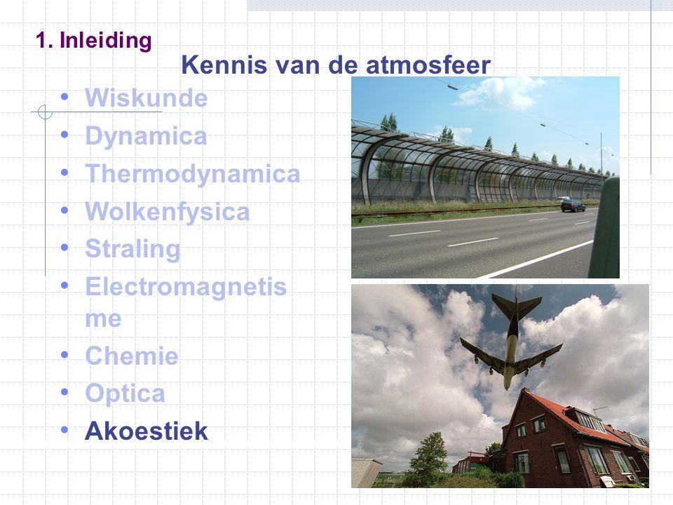 Wiskunde Dynamica Thermodynamica Wolkenfysica Straling Electromagnetis me Chemie Optica Akoestiek 1. Inleiding Kennis van de atmosfeer