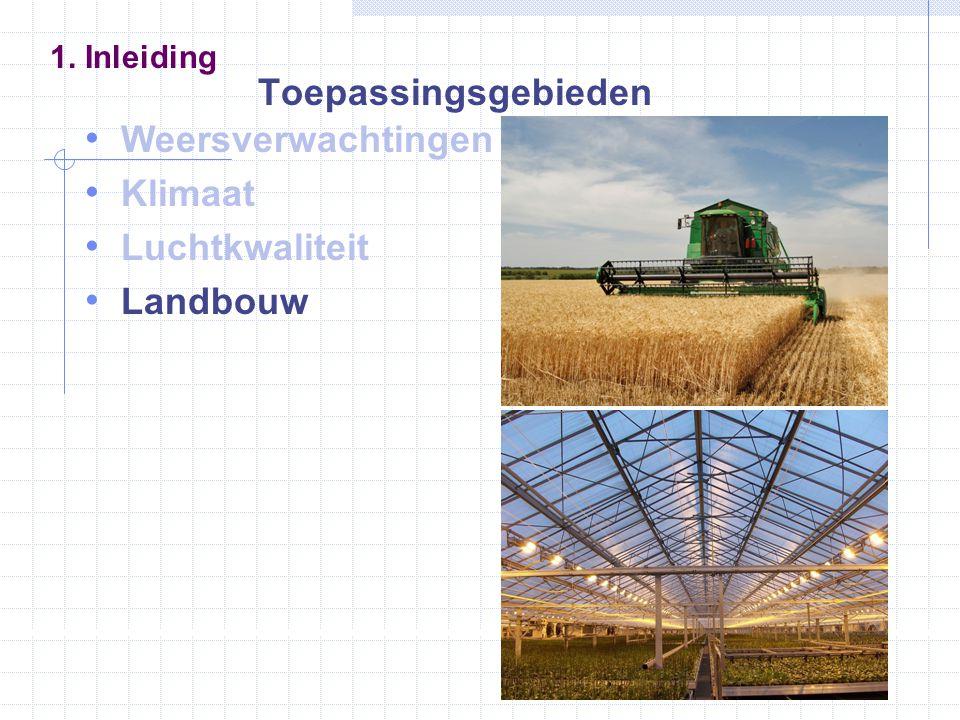 Weersverwachtingen Klimaat Luchtkwaliteit Landbouw 1. Inleiding Toepassingsgebieden