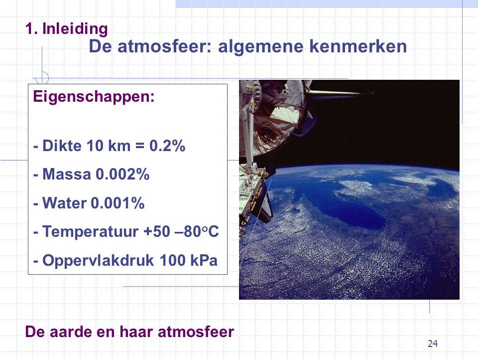 24 De atmosfeer: algemene kenmerken 1. Inleiding Eigenschappen: - Dikte 10 km = 0.2% - Massa 0.002% - Water 0.001% - Temperatuur +50 –80 o C - Oppervl