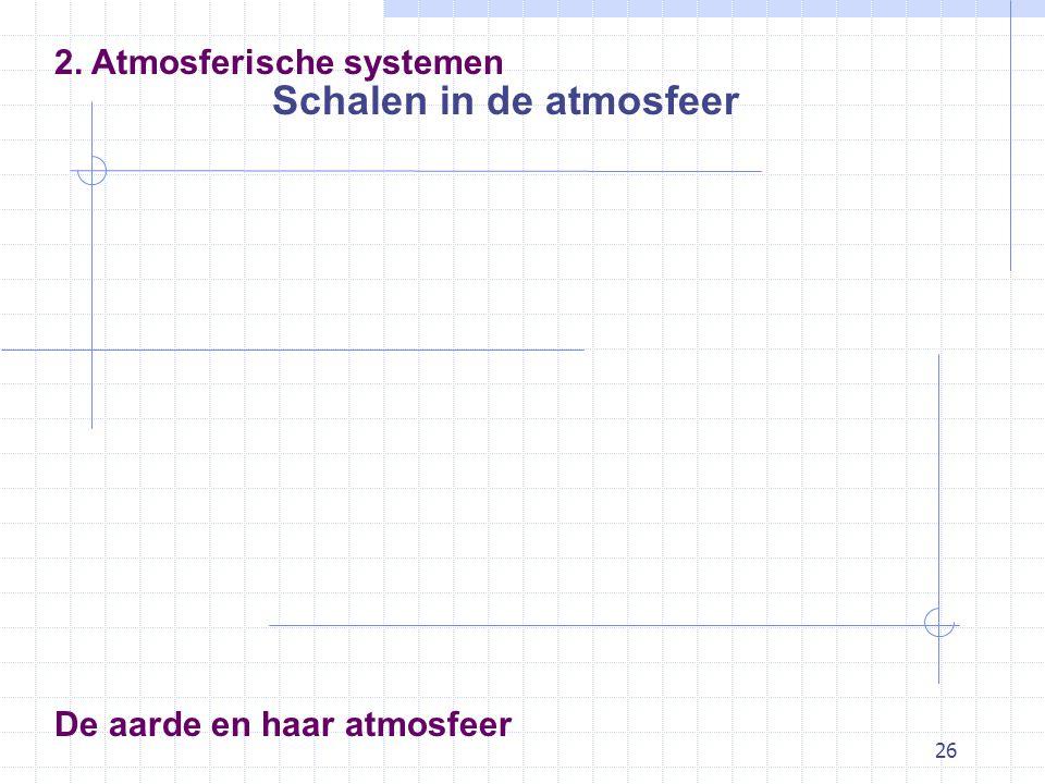 26 De aarde en haar atmosfeer Schalen in de atmosfeer 2. Atmosferische systemen