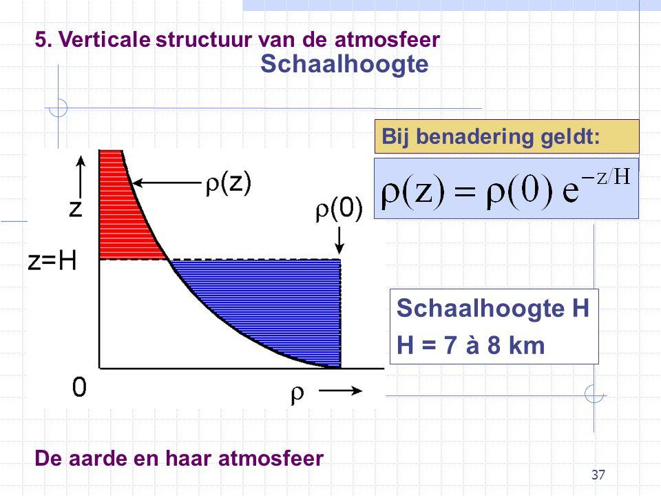 37 De aarde en haar atmosfeer Schaalhoogte 5. Verticale structuur van de atmosfeer Schaalhoogte H H = 7 à 8 km Bij benadering geldt: