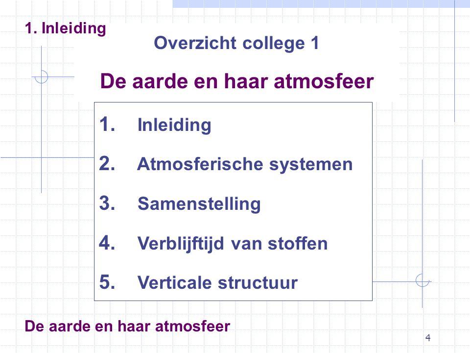 4 Overzicht college 1 De aarde en haar atmosfeer 1. Inleiding 2. Atmosferische systemen 3. Samenstelling 4. Verblijftijd van stoffen 5. Verticale stru