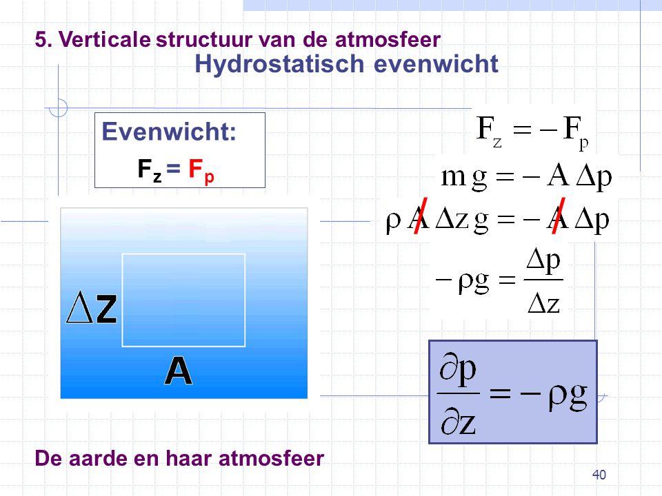 40 De aarde en haar atmosfeer Hydrostatisch evenwicht 5. Verticale structuur van de atmosfeer Evenwicht: F z = F p //