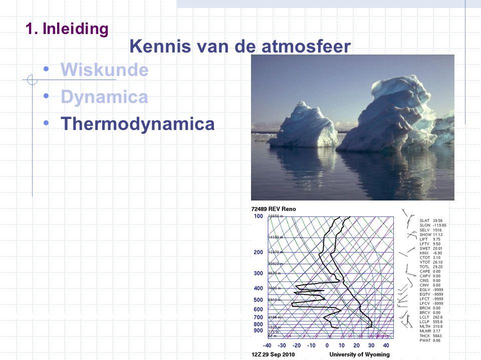 Wiskunde Dynamica Thermodynamica Wolkenfysica 1. Inleiding Kennis van de atmosfeer