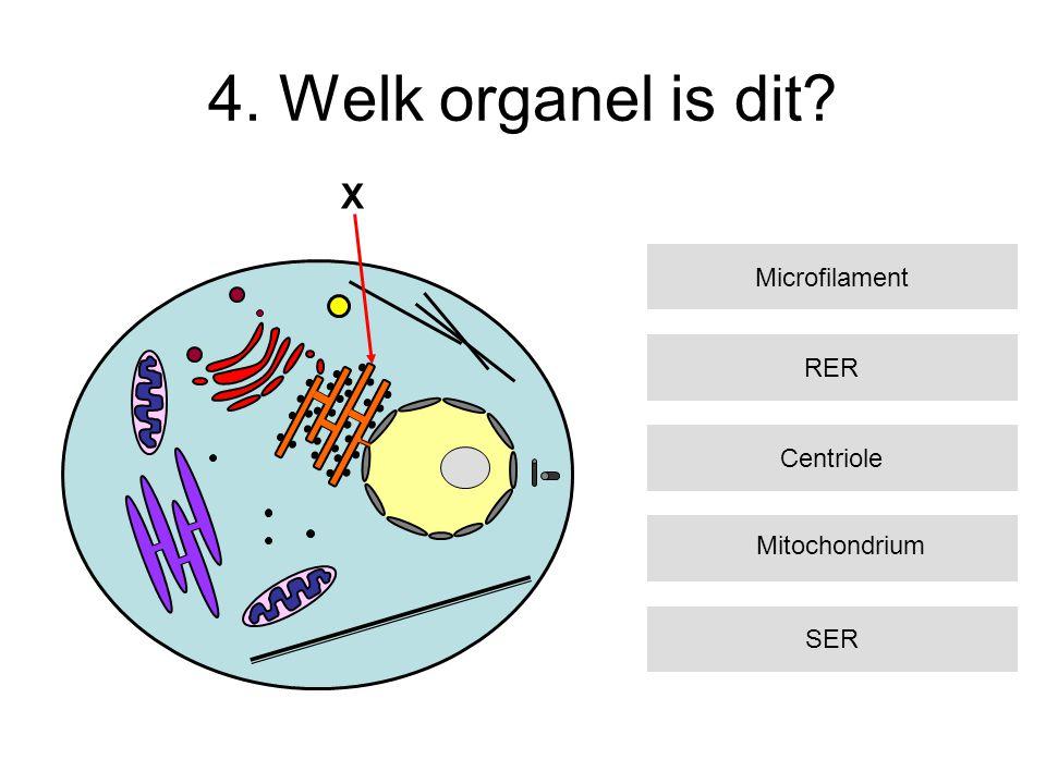 4. Welk organel is dit? RER Centriole SER Microfilament X Mitochondrium