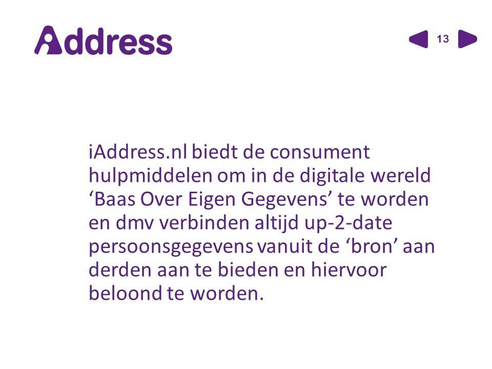13 iAddress.nl biedt de consument hulpmiddelen om in de digitale wereld 'Baas Over Eigen Gegevens' te worden en dmv verbinden altijd up-2-date persoonsgegevens vanuit de 'bron' aan derden aan te bieden en hiervoor beloond te worden.