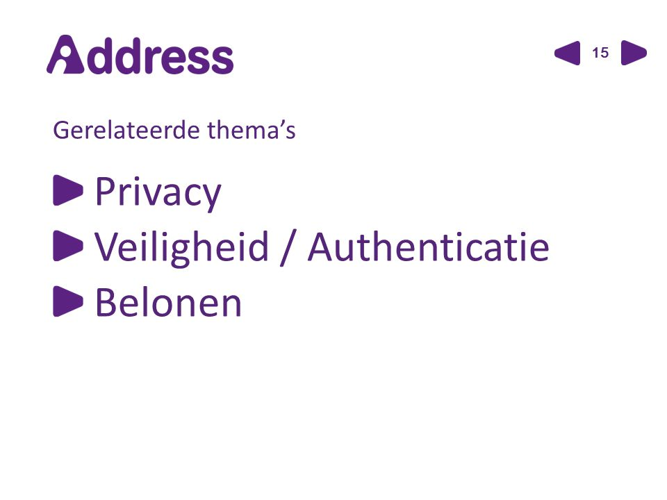 15 Gerelateerde thema's Privacy Veiligheid / Authenticatie Belonen