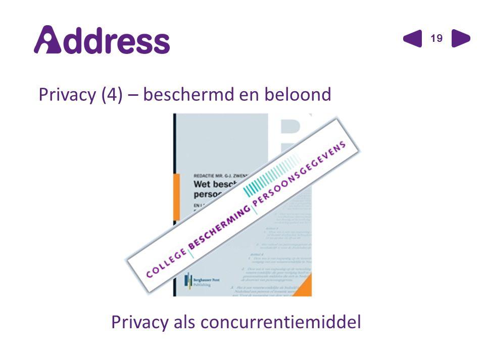 19 Privacy (4) – beschermd en beloond Privacy als concurrentiemiddel