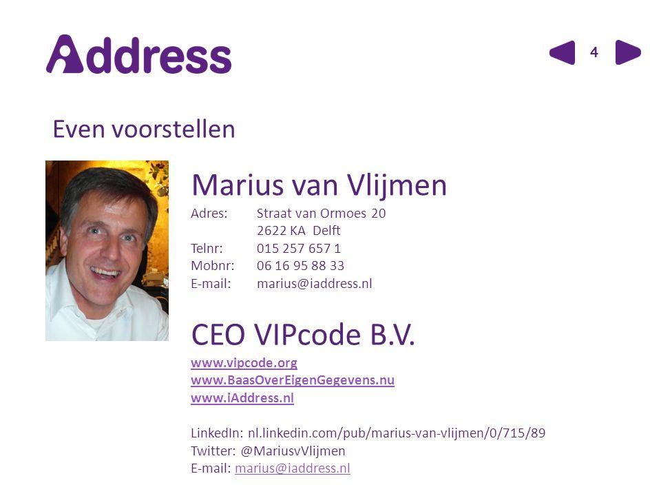 4 Even voorstellen Marius van Vlijmen Adres: Straat van Ormoes 20 2622 KA Delft Telnr:015 257 657 1 Mobnr:06 16 95 88 33 E-mail:marius@iaddress.nl CEO VIPcode B.V.