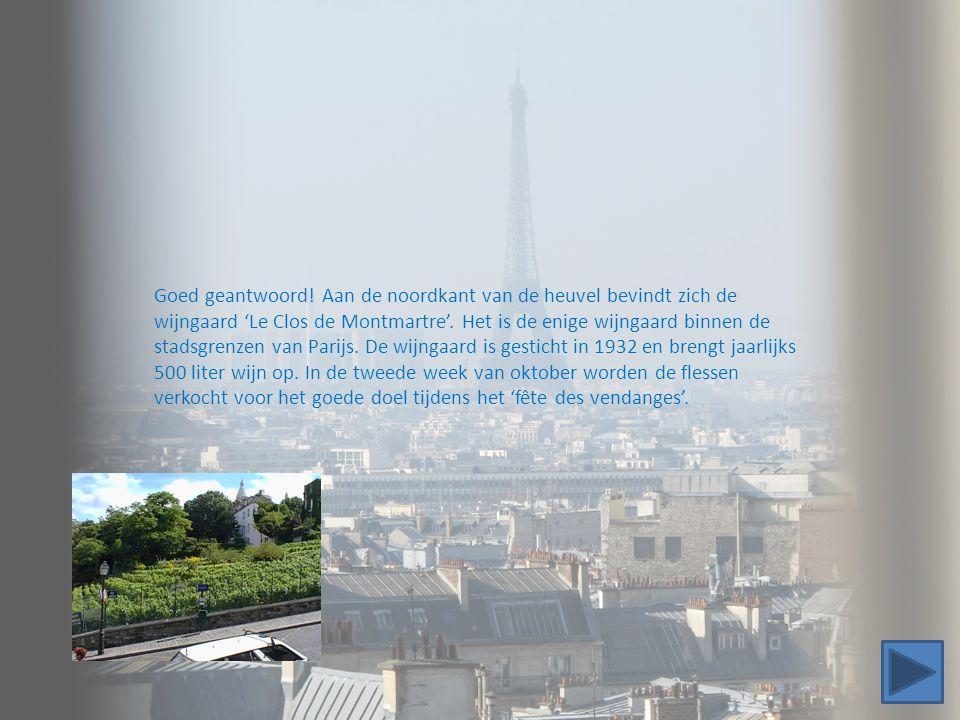 Goed geantwoord! Aan de noordkant van de heuvel bevindt zich de wijngaard 'Le Clos de Montmartre'. Het is de enige wijngaard binnen de stadsgrenzen va