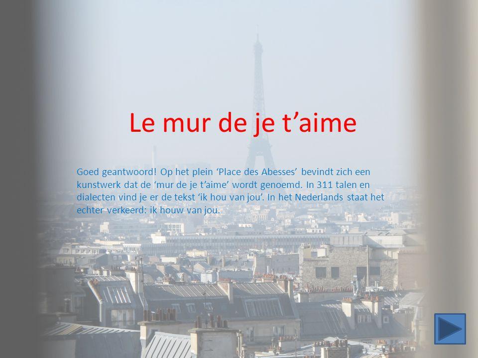 Le mur de je t'aime Goed geantwoord! Op het plein 'Place des Abesses' bevindt zich een kunstwerk dat de 'mur de je t'aime' wordt genoemd. In 311 talen