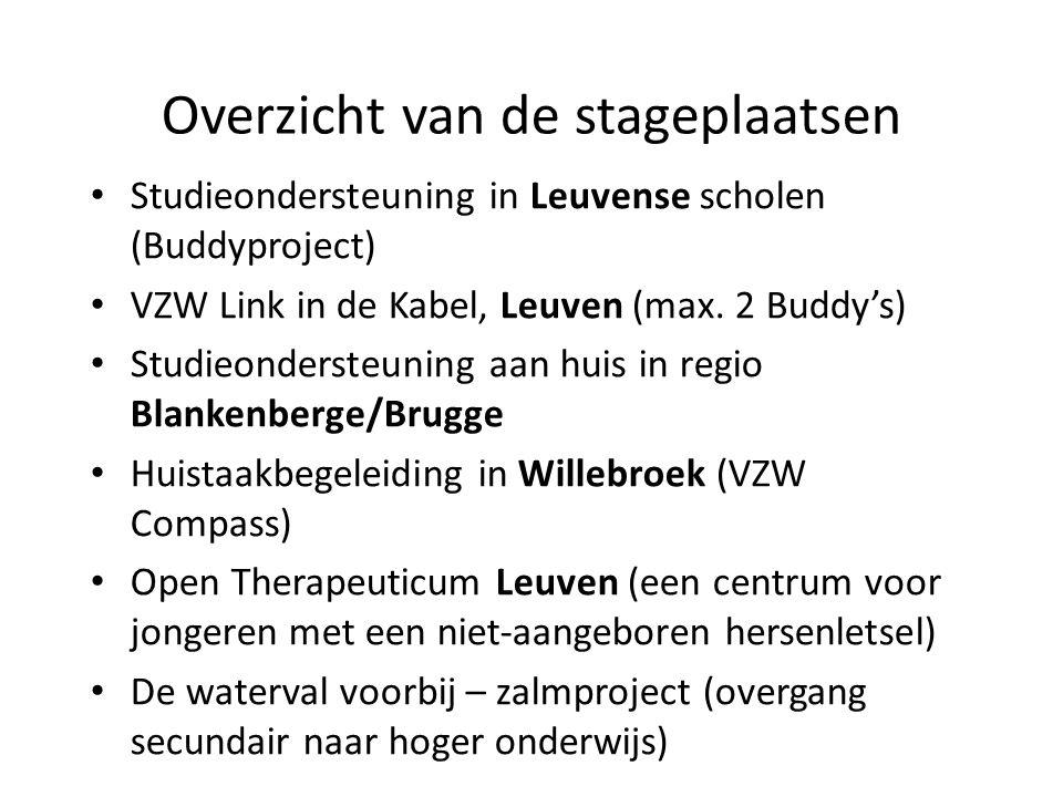 Overzicht van de stageplaatsen Studieondersteuning in Leuvense scholen (Buddyproject) VZW Link in de Kabel, Leuven (max.
