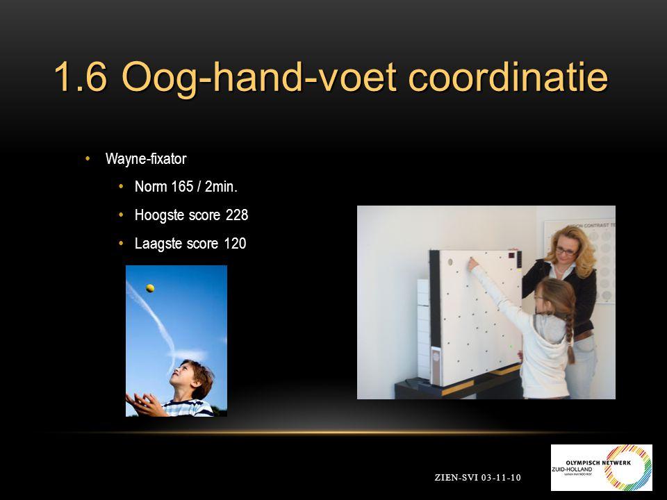 1.6 Oog-hand-voet coordinatie ZIEN-SVI 03-11-10 Wayne-fixator Norm 165 / 2min. Hoogste score 228 Laagste score 120