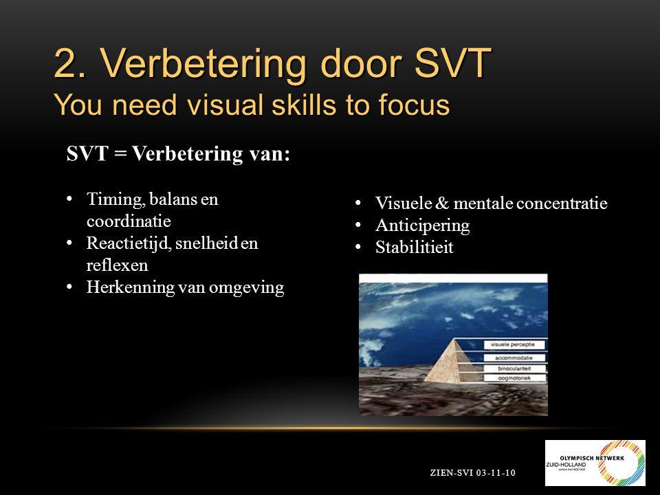 2. Verbetering door SVT You need visual skills to focus ZIEN-SVI 03-11-10 SVT = Verbetering van: Timing, balans en coordinatie Reactietijd, snelheid e
