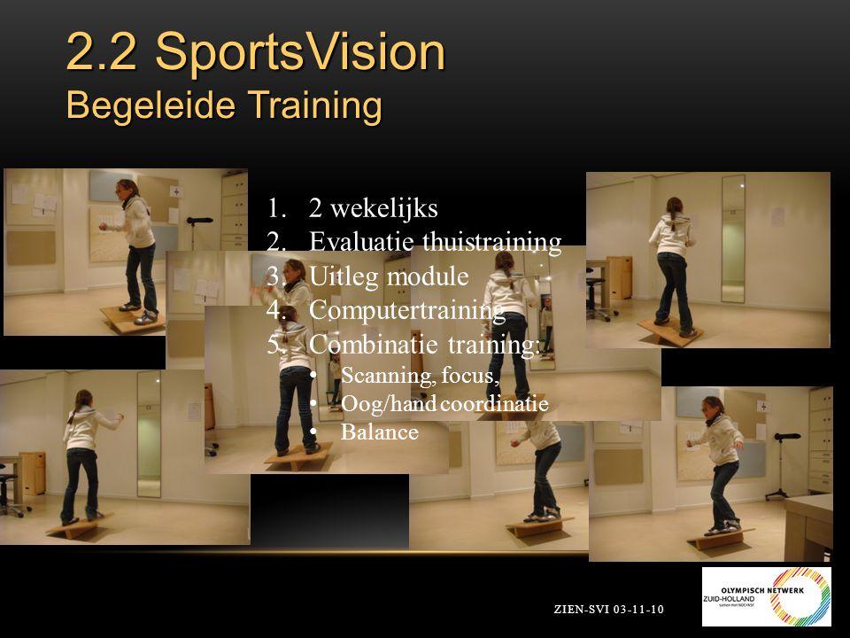 2.2 SportsVision Begeleide Training ZIEN-SVI 03-11-10 1.2 wekelijks 2.Evaluatie thuistraining 3.Uitleg module 4.Computertraining 5.Combinatie training