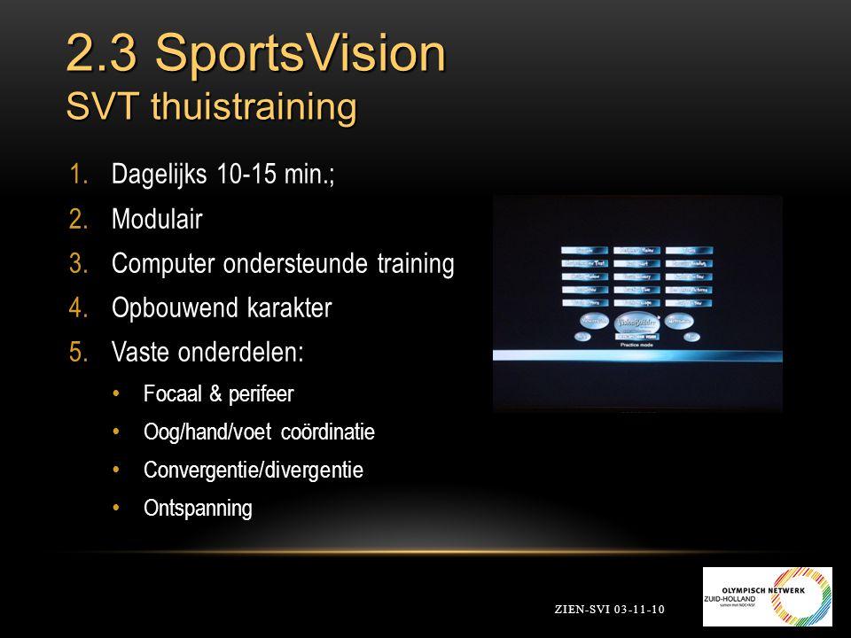 2.3 SportsVision SVT thuistraining 1.Dagelijks 10-15 min.; 2.Modulair 3.Computer ondersteunde training 4.Opbouwend karakter 5.Vaste onderdelen: Focaal