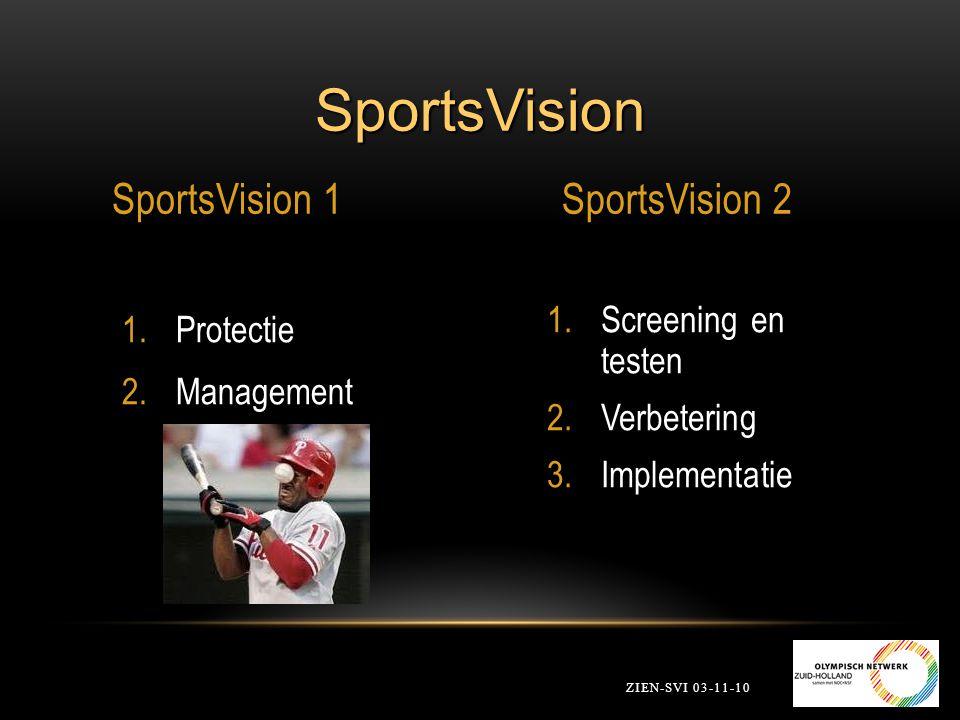 SportsVision Beter Zien is Beter Sporten ZIEN-SVI 03-11-10 1.Screening en testen van de sporter 2.Visuele vaardigheidstraining 3.Implementatie tijdens de sport.