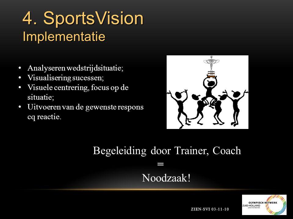 4. SportsVision Implementatie ZIEN-SVI 03-11-10 Analyseren wedstrijdsituatie; Visualisering sucessen; Visuele centrering, focus op de situatie; Uitvoe