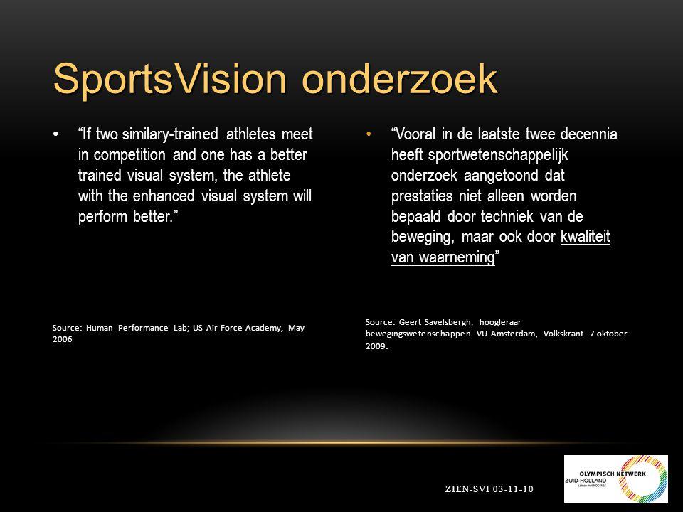 2.2 SportsVision Begeleide Training ZIEN-SVI 03-11-10 1.2 wekelijks 2.Evaluatie thuistraining 3.Uitleg module 4.Computertraining 5.Combinatie training: Scanning, focus, Oog/hand coordinatie Balance