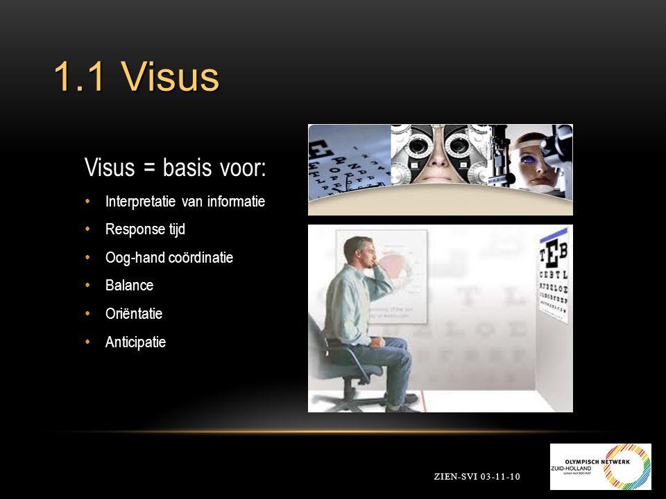 1.1 Visus ZIEN-SVI 03-11-10 Visus = basis voor: Interpretatie van informatie Response tijd Oog-hand coördinatie Balance Oriëntatie Anticipatie