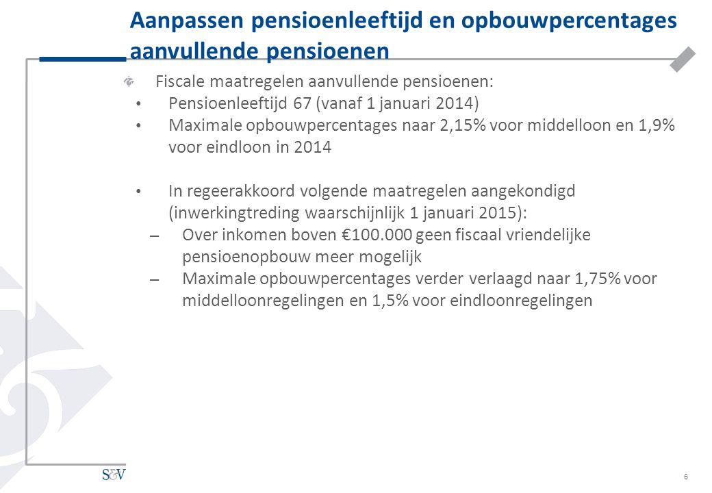 Fiscale maatregelen aanvullende pensioenen: Pensioenleeftijd 67 (vanaf 1 januari 2014) Maximale opbouwpercentages naar 2,15% voor middelloon en 1,9% v