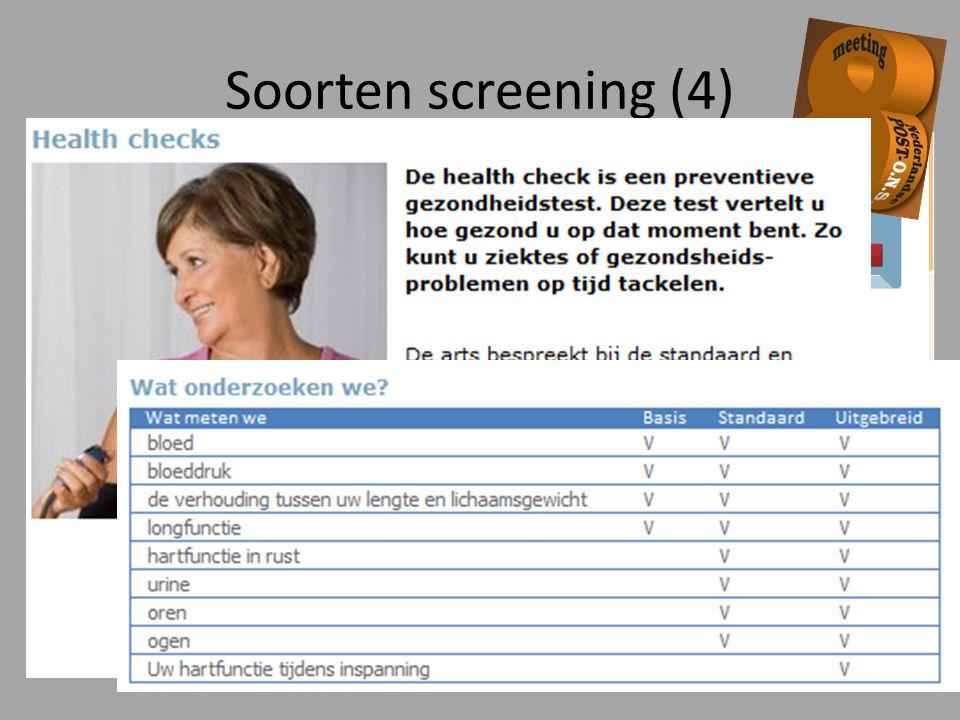 Health checks Screening die varieert van het invullen van een vragenlijst tot uitgebreid lichamelijk onderzoek en/of laboratoriumonderzoek Casefinding