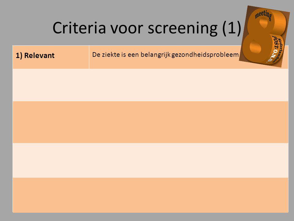 Criteria voor screening (1) 1) Relevant De ziekte is een belangrijk gezondheidsprobleem 2) Behandelbaar Er is een goede, veilige behandeling voor de z