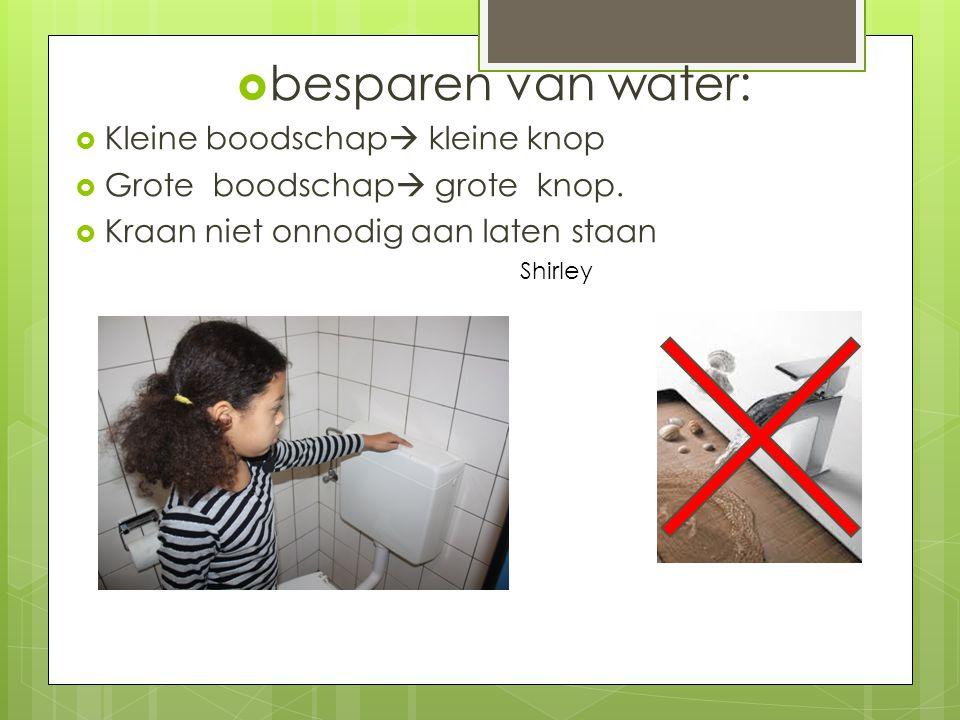  besparen van water:  Kleine boodschap  kleine knop  Grote boodschap  grote knop.