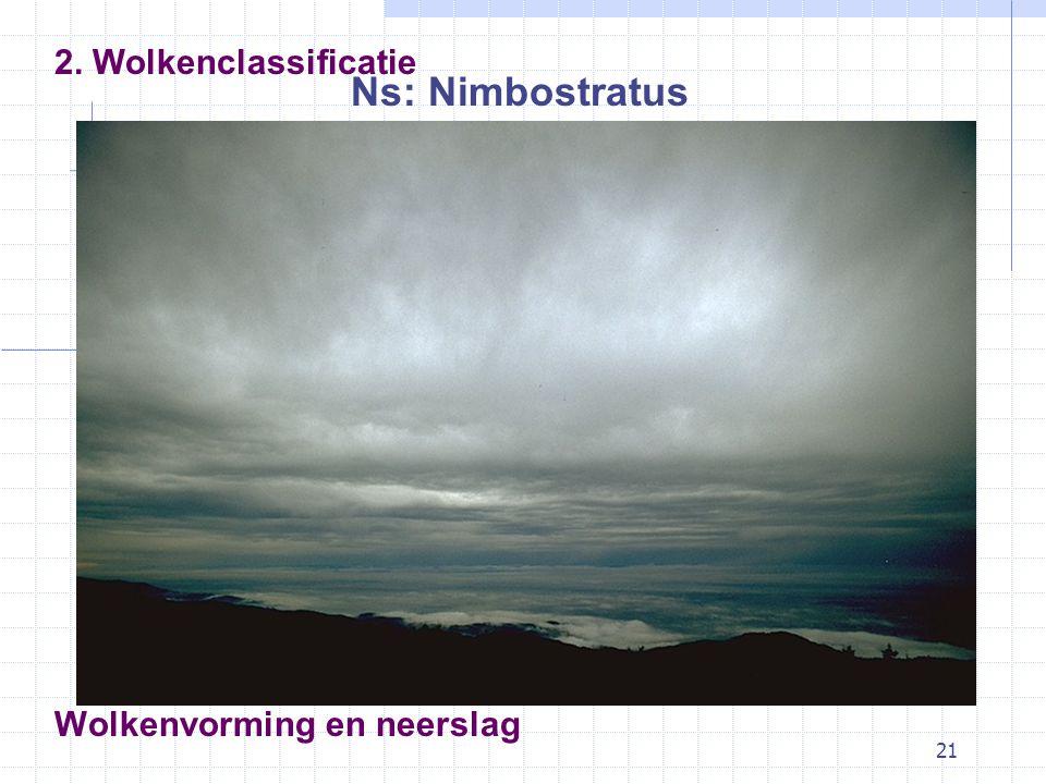 21 Wolkenvorming en neerslag Ns: Nimbostratus 2. Wolkenclassificatie