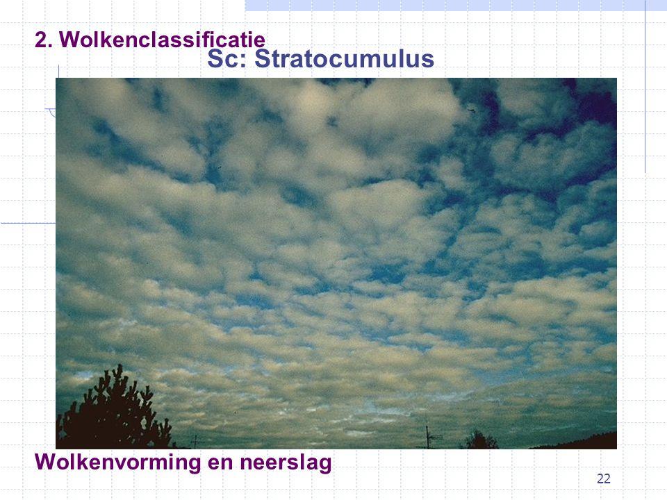 22 Wolkenvorming en neerslag Sc: Stratocumulus 2. Wolkenclassificatie