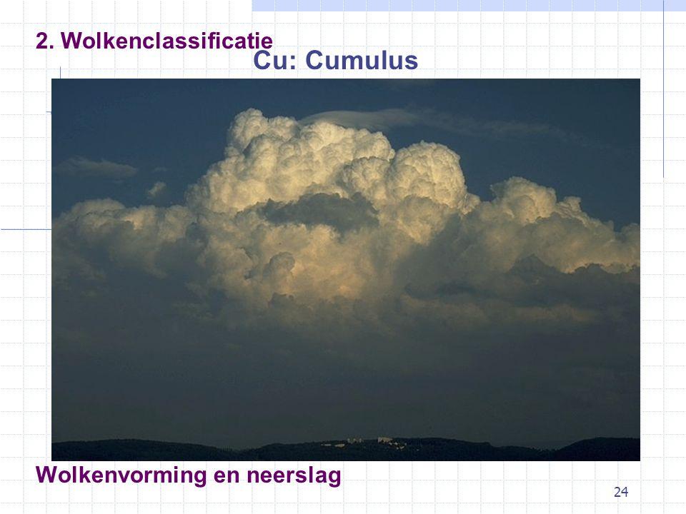24 Wolkenvorming en neerslag Cu: Cumulus 2. Wolkenclassificatie