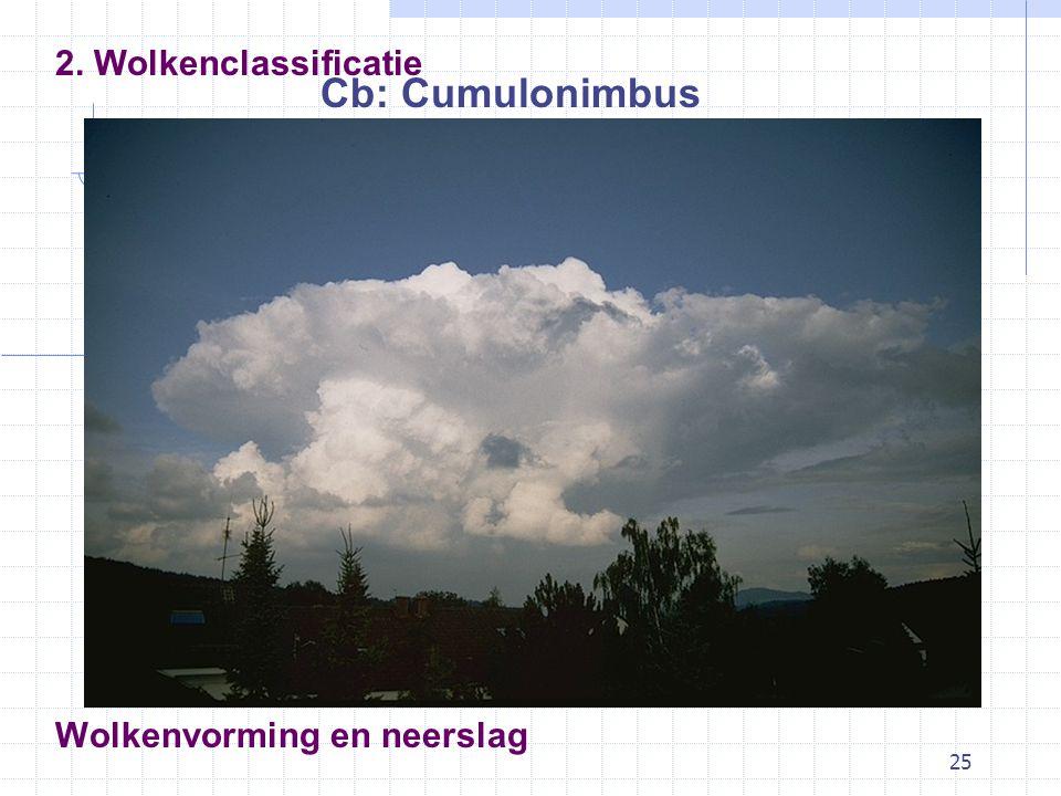25 Wolkenvorming en neerslag Cb: Cumulonimbus 2. Wolkenclassificatie