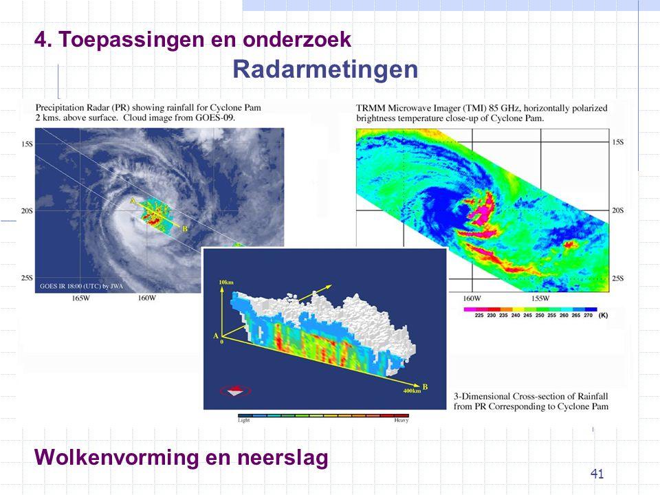 41 Wolkenvorming en neerslag Radarmetingen 4. Toepassingen en onderzoek