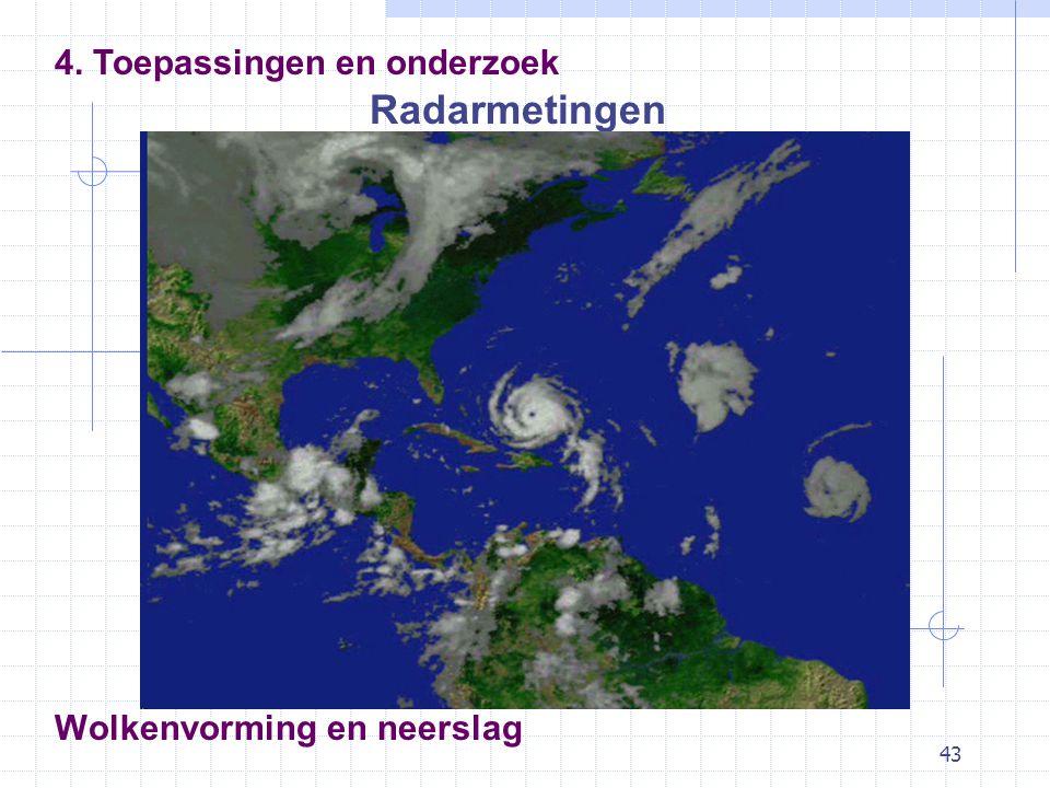 43 Wolkenvorming en neerslag Radarmetingen 4. Toepassingen en onderzoek
