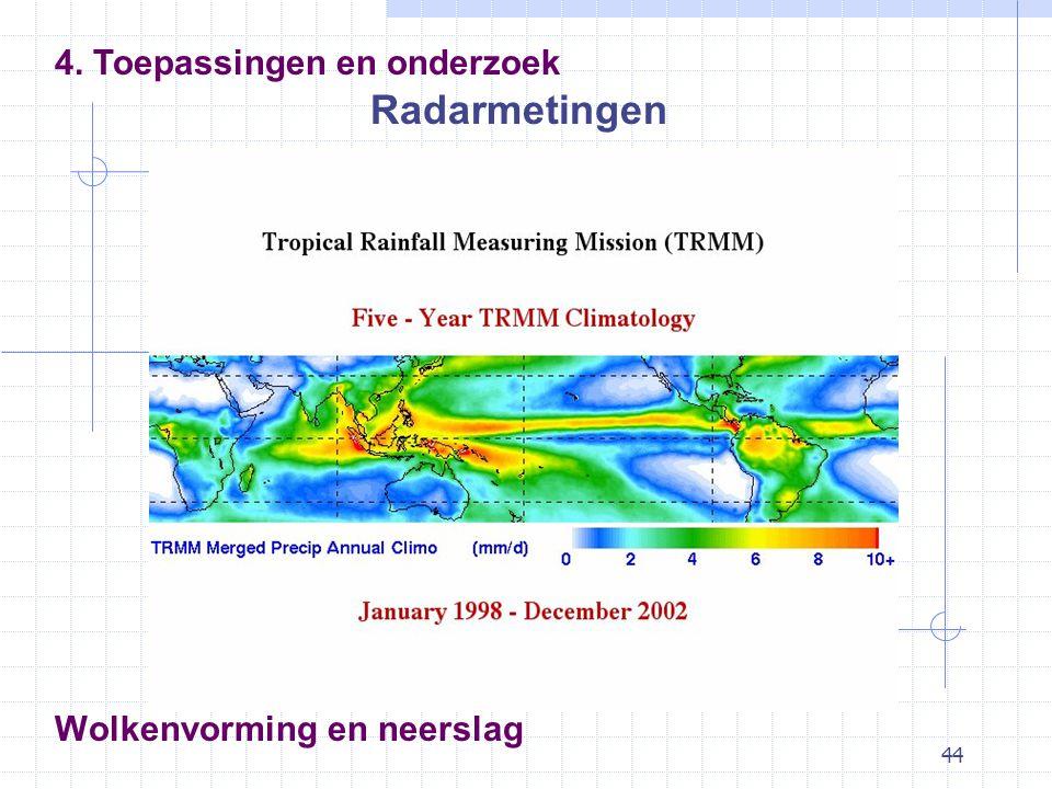 44 Wolkenvorming en neerslag Radarmetingen 4. Toepassingen en onderzoek