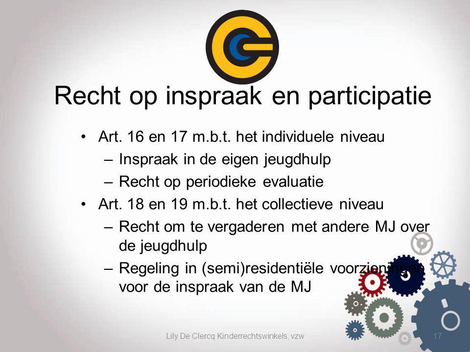 Lily De Clercq Kinderrechtswinkels, vzw17 Recht op inspraak en participatie Art. 16 en 17 m.b.t. het individuele niveau –Inspraak in de eigen jeugdhul