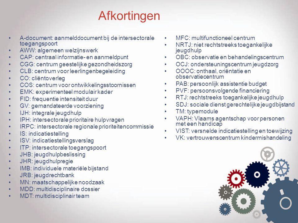 Afkortingen A-document: aanmelddocument bij de intersectorale toegangspoort AWW: algemeen welzijnswerk CAP: centraal informatie- en aanmeldpunt CGG: c