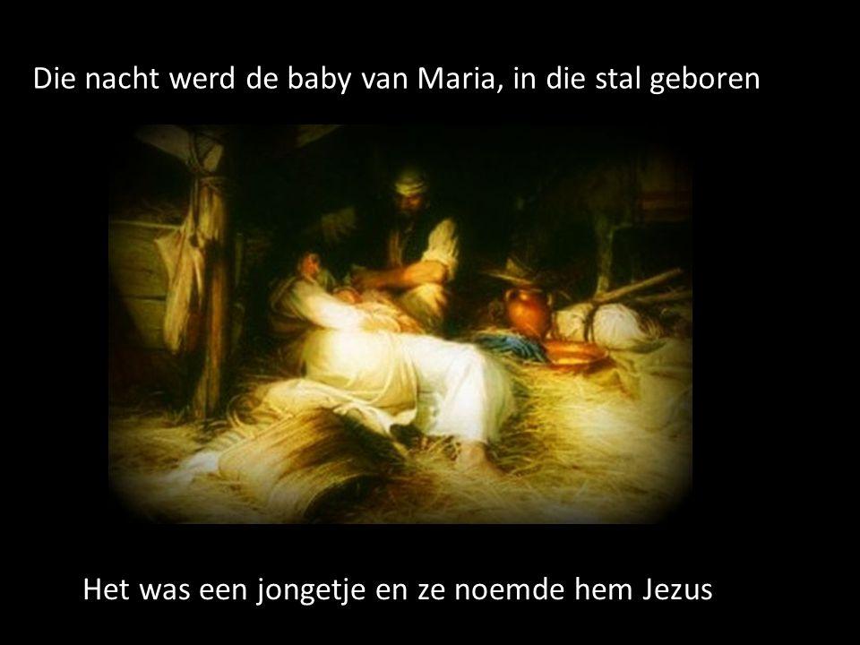 Die nacht werd de baby van Maria, in die stal geboren Het was een jongetje en ze noemde hem Jezus