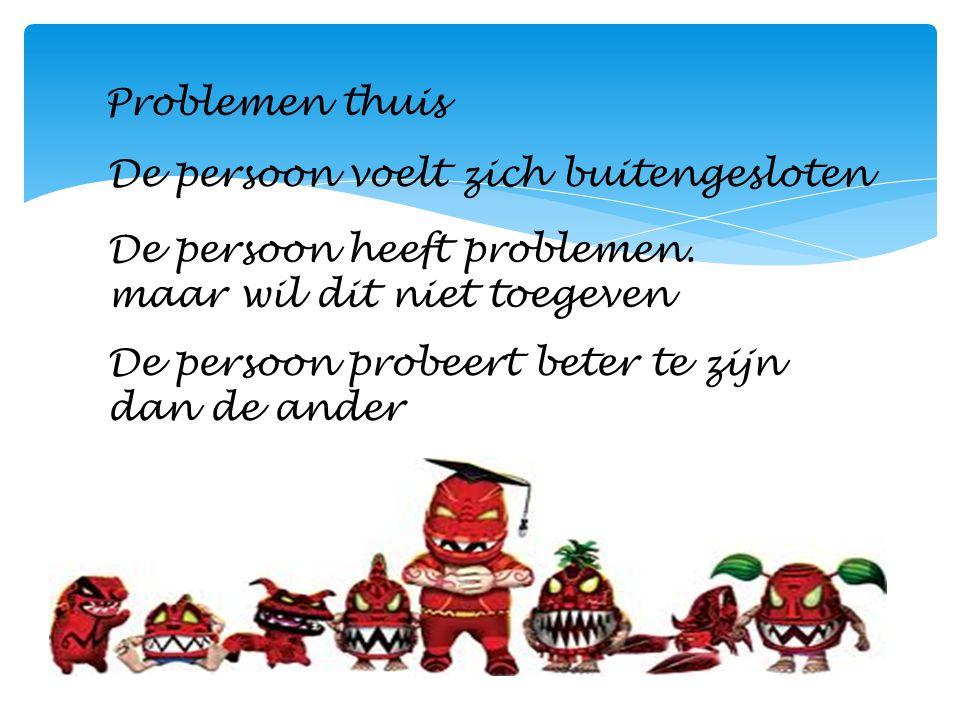 Problemen thuis De persoon voelt zich buitengesloten De persoon heeft problemen. maar wil dit niet toegeven De persoon probeert beter te zijn dan de a