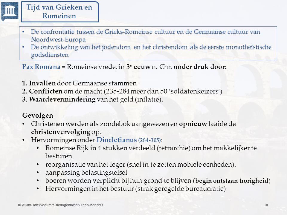 Tijd van Grieken en Romeinen © Sint-Janslyceum 's-Hertogenbosch, Theo Manders Pax Romana = Romeinse vrede, in 3 e eeuw n. Chr. onder druk door: 1. Inv