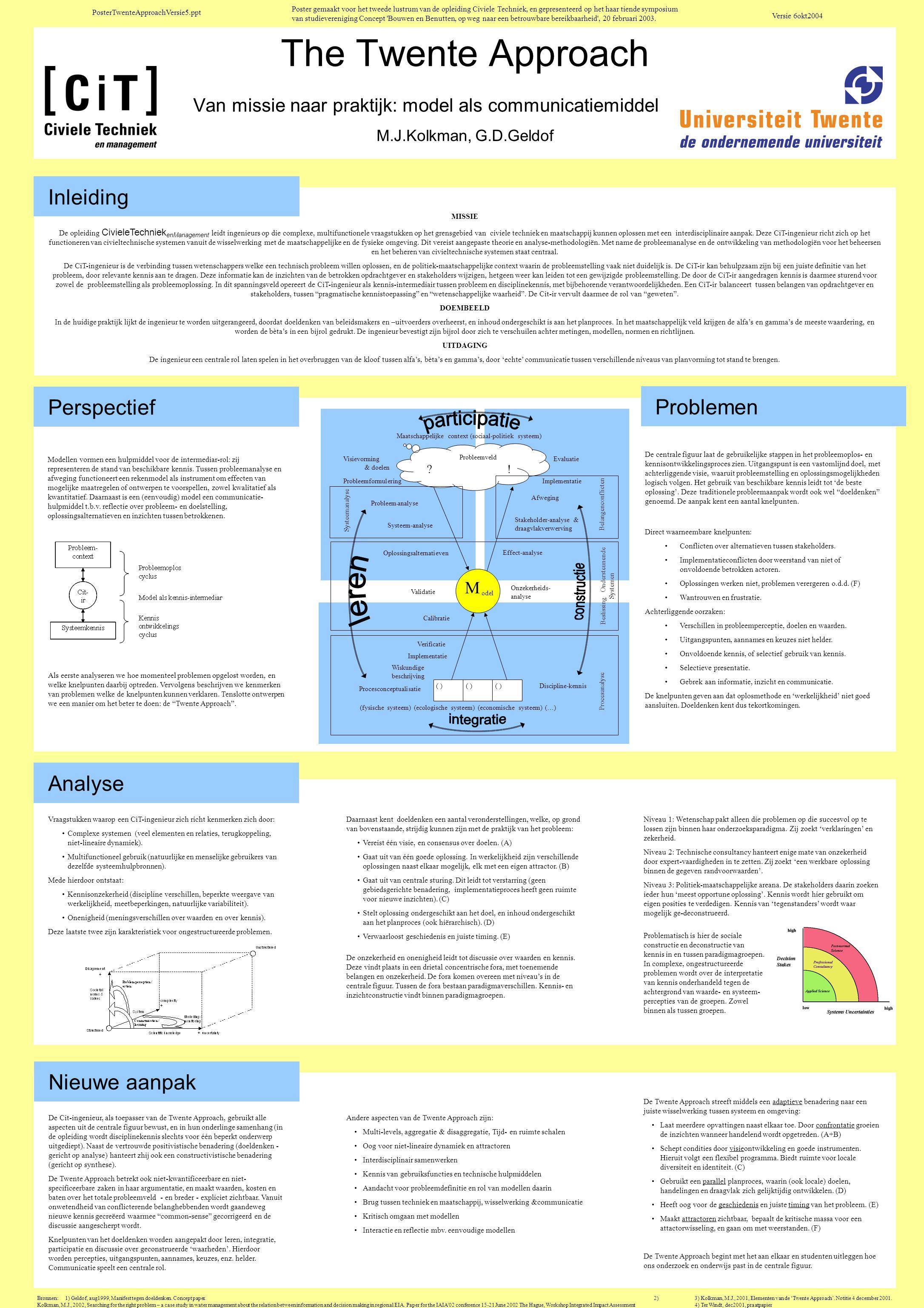The Twente Approach Van missie naar praktijk: model als communicatiemiddel. M.J.Kolkman, G.D.Geldof Inleiding MISSIE De opleiding CivieleTechniek enMa