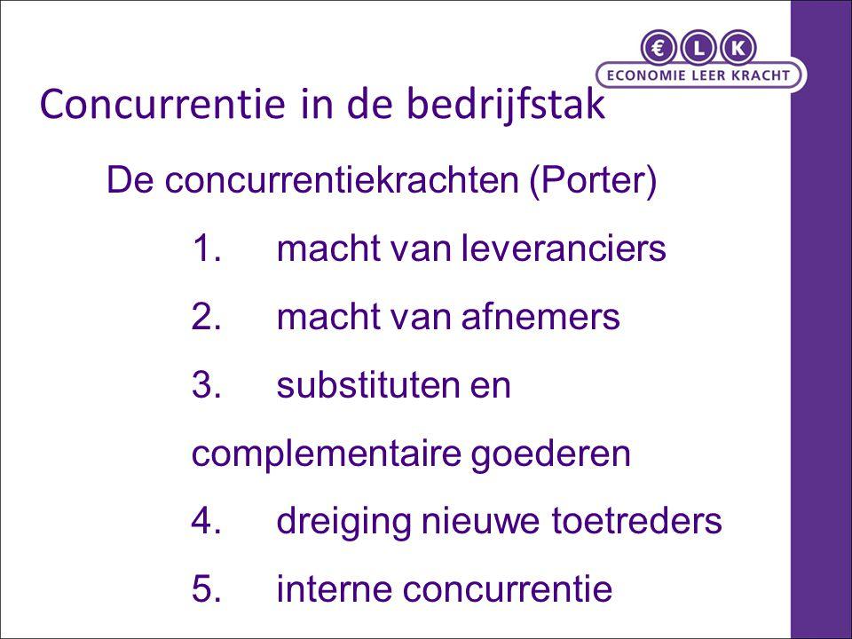 De concurrentiekrachten (Porter) 1.macht van leveranciers 2.macht van afnemers 3.substituten en complementaire goederen 4.dreiging nieuwe toetreders 5