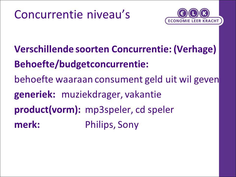 Concurrentie niveau's Verschillende soorten Concurrentie: (Verhage) Behoefte/budgetconcurrentie: behoefte waaraan consument geld uit wil geven generie