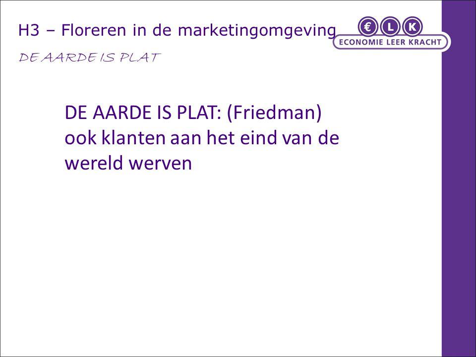 H3 – Floreren in de marketingomgeving DE AARDE IS PLAT DE AARDE IS PLAT: (Friedman) ook klanten aan het eind van de wereld werven