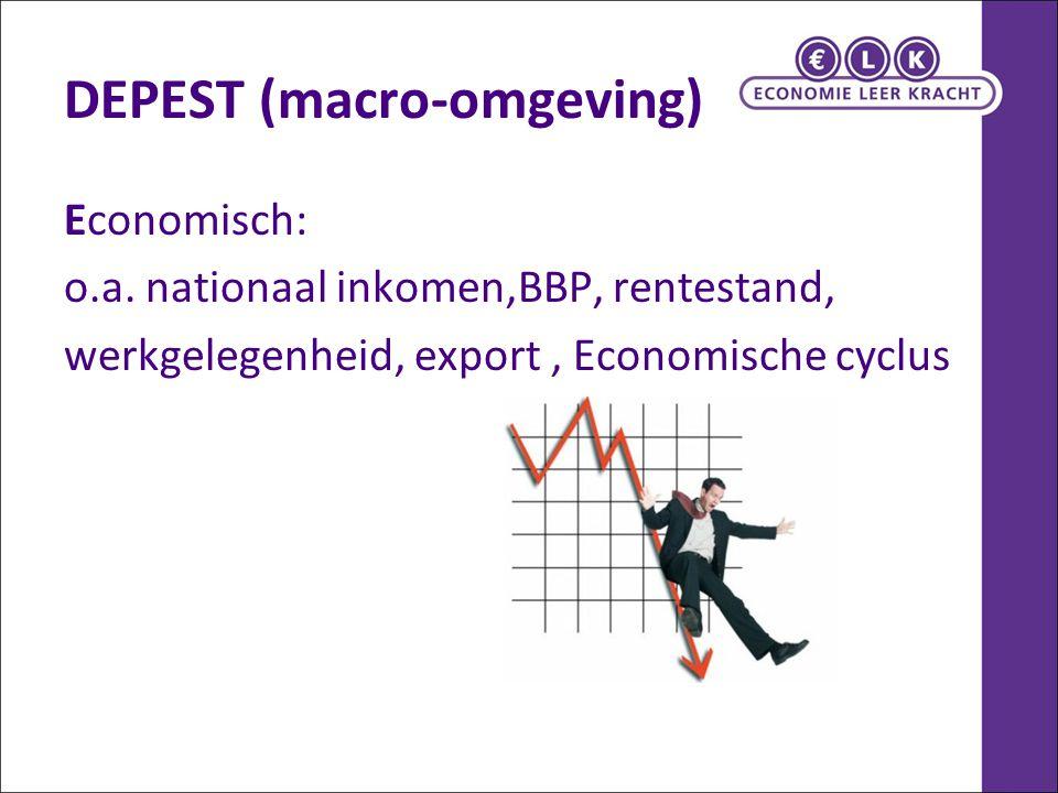 DEPEST (macro-omgeving) Economisch: o.a. nationaal inkomen,BBP, rentestand, werkgelegenheid, export, Economische cyclus