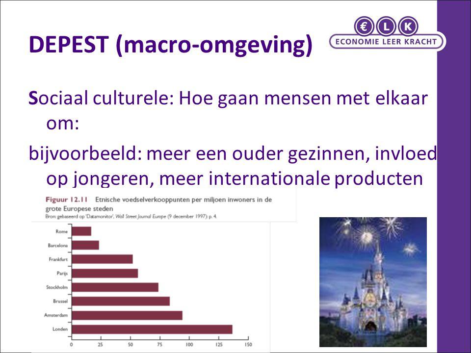 DEPEST (macro-omgeving) Sociaal culturele: Hoe gaan mensen met elkaar om: bijvoorbeeld: meer een ouder gezinnen, invloed op jongeren, meer internation