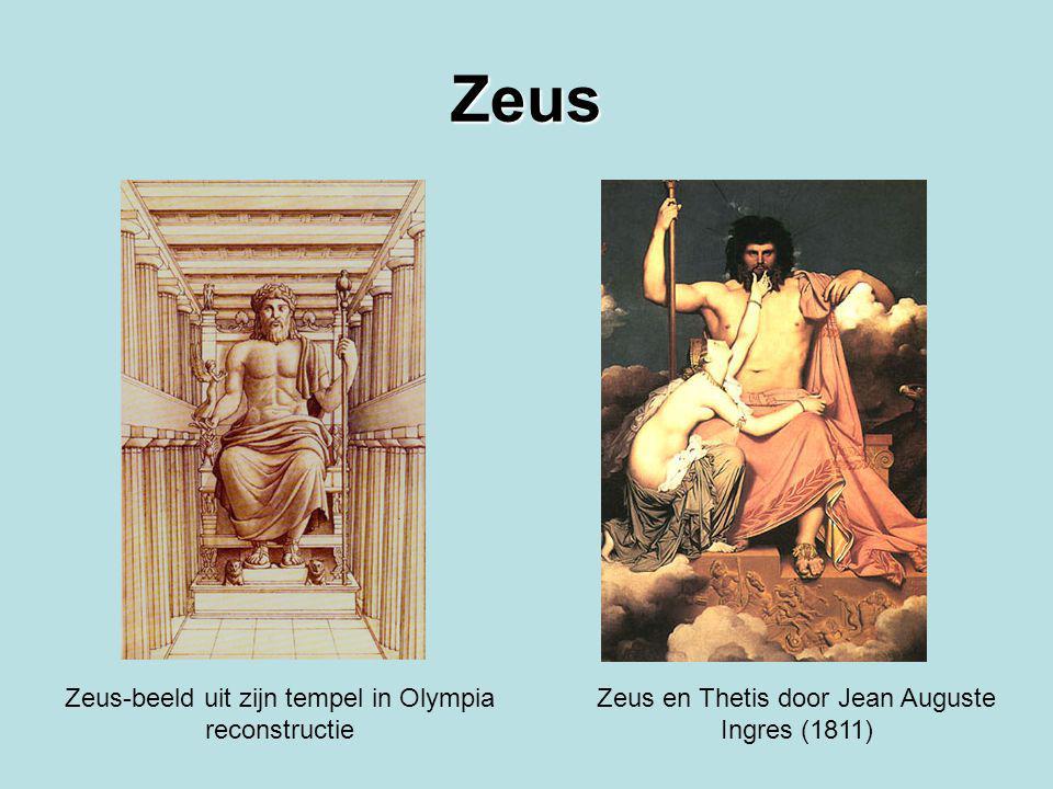 Zeus Zeus-beeld uit zijn tempel in Olympia reconstructie Zeus en Thetis door Jean Auguste Ingres (1811)