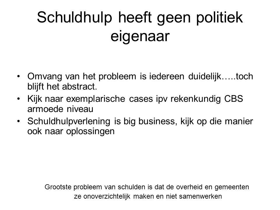 Schuldhulp heeft geen politiek eigenaar Omvang van het probleem is iedereen duidelijk…..toch blijft het abstract. Kijk naar exemplarische cases ipv re