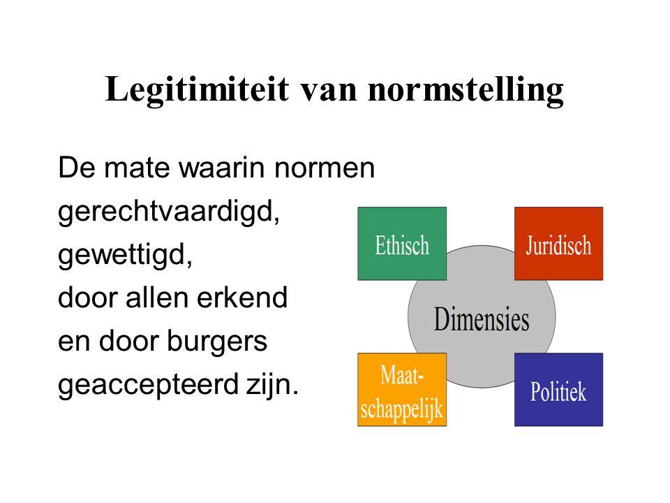 Legitimiteit van normstelling De mate waarin normen gerechtvaardigd, gewettigd, door allen erkend en door burgers geaccepteerd zijn.